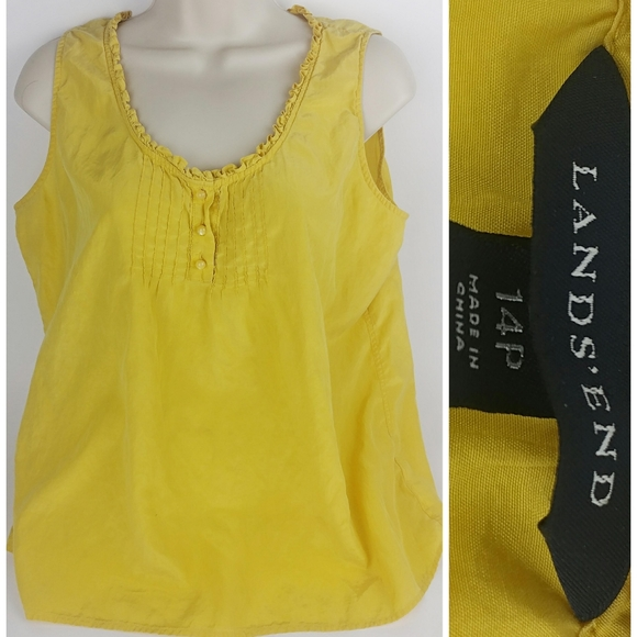 Lands' End Yellow Sleeveless Blouse Top Size 14 P